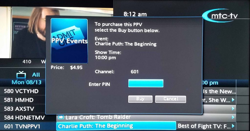 Pay-per-view with MTC TV