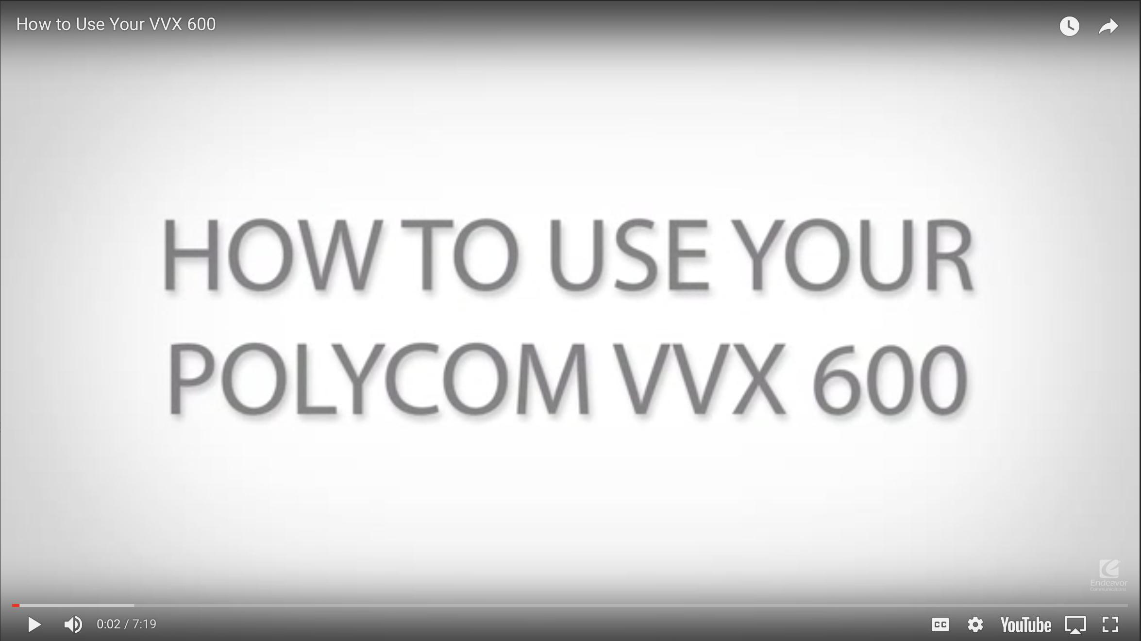 How to use your Polycom VVX 600
