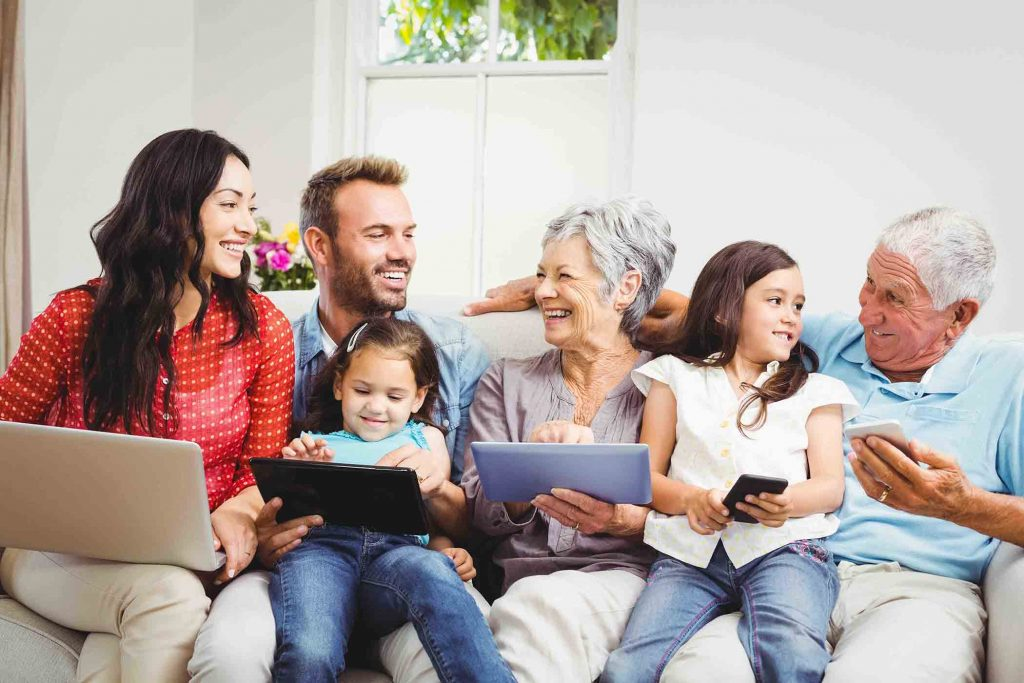 Family with technology using services